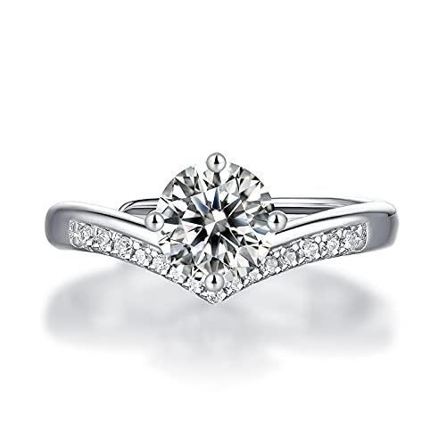 Anillo ZIYUYANG , Moissanite Plata de ley Corona Anillo de diamantes Joyería de compromiso de pareja Cambiable 1ct