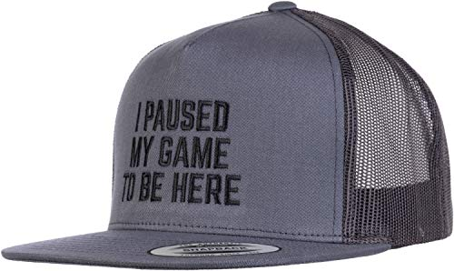 I Paused My Game to Be Here | Divertido piada de humor para gamer de vídeo para homens e mulheres boné, Grey / Black, One Size
