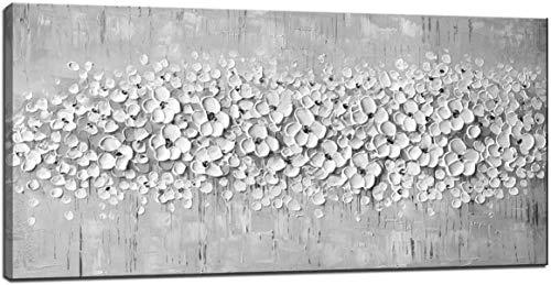 100% Pittura a Olio Disegnata a Mano 3D Tavolozza di fiori bianchi grigi Coltello su tela Pittura murale astratta per soggiorno Camera da letto Decorazioni (senza cornice) (70x140cm(28x56inch))