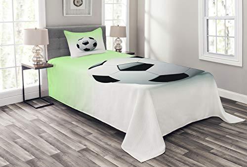 ABAKUHAUS Sport Tagesdecke Set, Fußball Fußball-Spielball, Set mit Kissenbezug Ohne verblassen, für Einzelbetten 170 x 220 cm, Weiß Schwarz