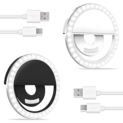 CameCosy 2pcs Small Selfie Ring Light for Laptop/Phone/ipad. Mini Rechargeable Portable Clip-on Selfie Fill Light for Makeup/Camera Video/YouTube/TikTok, Compatible with iPhone/Android.(Black+White)