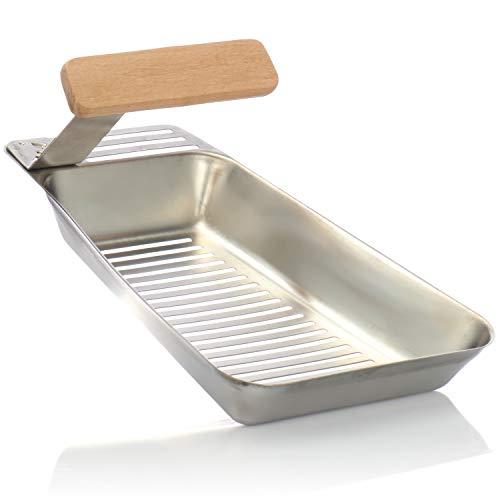 COM-FOUR® BBQ Grillpfanne mit praktischem Griff zum Abnehmen aus Edelstahl, rostfrei, Universal Grillkorb für vegetarische Gerichte, Gemüse, Fisch und Fleisch - Pfanne 25 x 16 x 3,5 cm
