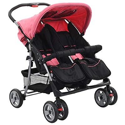 vidaXL Cochecito para Gemelos de Acero Rosa y Negro Accesorios Bebés Mellizos Ajustable Transporte Ligero Versátil Compacto Práctico Cómodo Plegable
