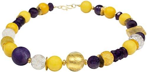 amatista de ágata de serpiente de cristal de Murano de diseño joyas collar Yuna Statement chapado en oro piedras preciosas hecho a mano cadena de diseño