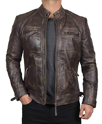 Decrum Genuine Leather Jacket Men - Mens Brown Leather Jacket [1100112] | D1 RubOFF, S