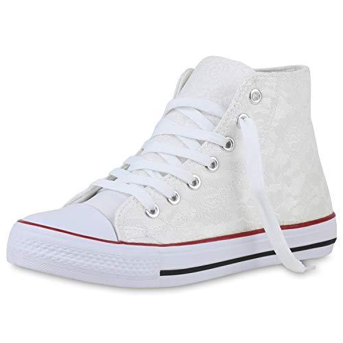 SCARPE VITA Damen Sneaker High Stoff Schuhe Spitze Schnürer Flache Schnür-Schuhe Spitzen-Stoff Freizeit Stoff-Schuhe 196458 Weiss 38
