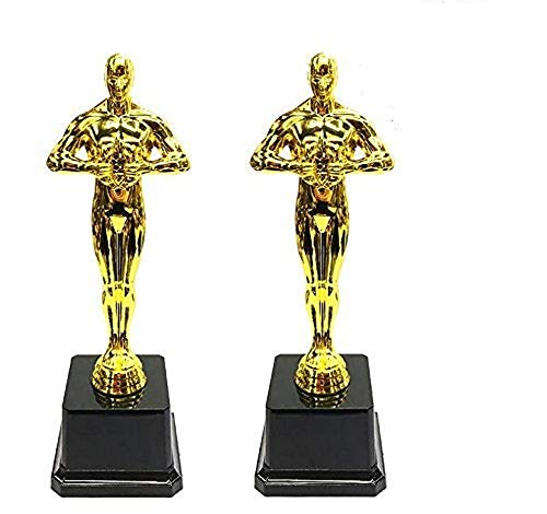 EBTOYS Gold Award Trophies Oscar Award Trophies for Party Celebrations, Ceremony, Appreciation, Awards for Teachers and Students,2-Pack