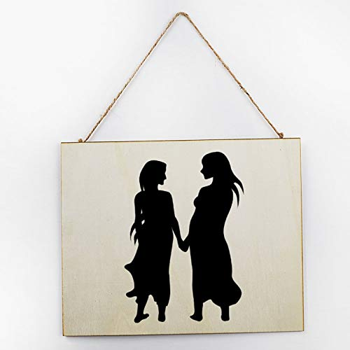 Vintage Large Wooden Hand Painted Sign Plaque Gift Kitchen Living Room Decor Handmade by Vintage Product Designer Gay Valentines Couple Women Deep Eye Contact Pattern