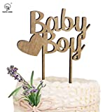 PAPA LONG Rustic Wooden Baby Boy Cake Topper For Baby Shower Include...