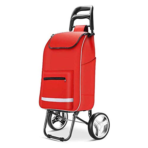summerr Shopping Trolley,Trolley on Wheels with Detachable Bag and Foldable Design, Max Capacity 30kg, 45L (Color : Red)