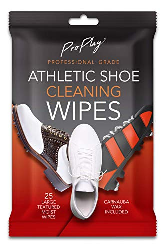ProPlay Athletic Shoe Cleaning Wipes   Carnauba Wax Included   Repels Water from Shoes   Powerful Cleaner That Removes Dirt, Grass, and Sand   Convenient, Resealable Pack - Unscented