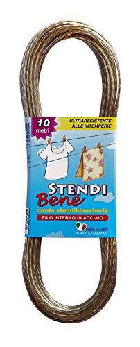 Parodi & Parodi, art. 355, Stendi Bene, corda stendibiancheria in acciaio, lunghezza 10 mt, spessore corda 2,4 mm, ricambio ideale per stendere il bucato, ultraresistente alle intemperie