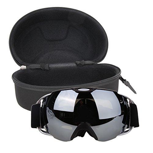 Prosperveil Unisex Doppelscheibe UV400 Antibeschlag-Brille Snowboard Skibrille mit Etui, Schwarz