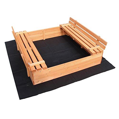 Cajón de arena para niños infantil 2 bancos 980x980x200 Con tapa Madera Abeto