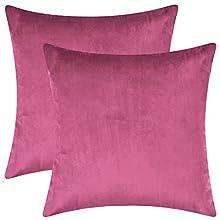 BlueCosto (2_Rosa-Rojo Terciopelo Fundas de Cojines Funda de cojín para sofá Almohada Dormitorio Coche Suave Decoración 45 x 45 cm