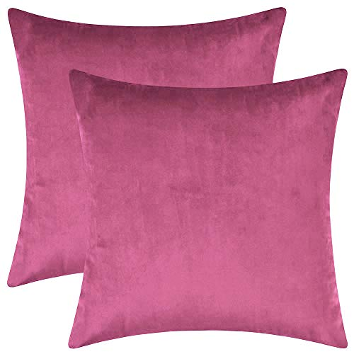 BlueCosto (2_Rosa-Rojo Terciopelo Fundas de Cojines Funda de cojín para sofá...