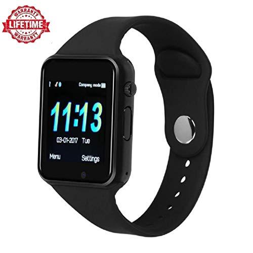 Smart Watch Kkcite Bluetooth Touch Screen Smartwatch Unlock Cell Phone Sim 2G GSM with Camera Sleep Monitor, Push Message, Anti Lost Etc for Men Women Kids (Spray Black)
