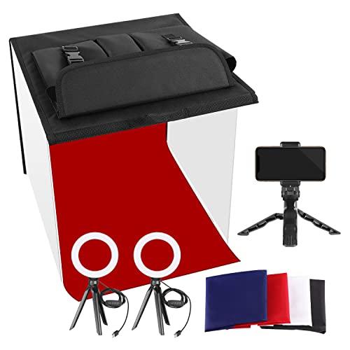 Neewer Foto Estudio Caja 40x40cm Table Top Foto Luz Caja Kit de Iluminación Continua con 3 Soportes para Trípode 2 Luces de Anillo LED 4 Fondos de Color y un Soporte para Teléfono