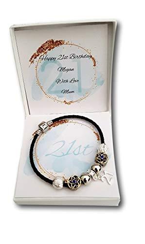 Girls Ladies Black Leather Bracelet Age 16th 18th 21st 30th 40th Birthday Gift Present