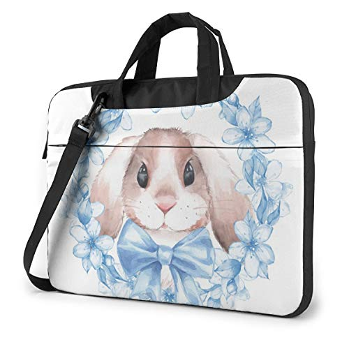 Laptop Carrying Case Cute Rabbit Bunny Watercolor Bule Lily Flower 13in Laptop Case Sleeve Shoulder Bag Messenger Briefcase Computer Bags W/Strap Handle