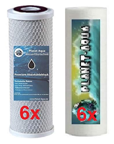 Ersatzfilter 10 Zoll für Osmoseanlage Wasserfilter und die Umkehrosmose. Filterset besteht aus 6 x Sediment Filter 5 Mikron + 6 x Aktivkohle Block Kartusche Patrone. Osmose Trinkwasser Aquarium Wasser