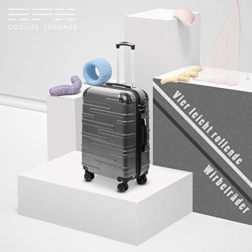 COOLIFE COOLIFE Hartschalen-Koffer Rollkoffer Reisekoffer Vergrößerbares Gepäck (Nur Großer Koffer Erweiterbar) ABS Material mit TSA-Schloss und 4 Rollen(Grau, Handgepäck)