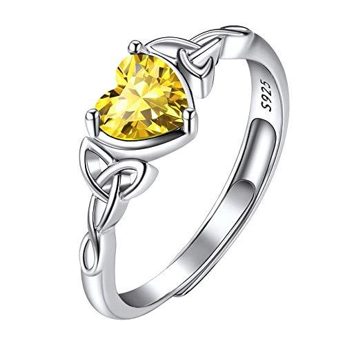 Srebro próby 925 celtycka trójca węzeł w kształcie serca pierścionki z kamieniem urodzinowym, regulowany kryształ solitaire pierścionek ślubny, 12 miesięcy kamień urodzenia biżuteria dla kobiet dziewcząt e Pierścień, regulowany, colore: 11. Listopad