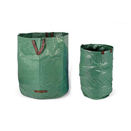 Fundwerk Garten-Abfallsack 272L & 500L im 2er Set | Die Gartenabfallsäcke sind bestens geeignet als Laubsack und für Grünschnitt | dunkelgrün