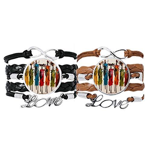 DIYthinker Abstracto Arte primitivo Africano Aboriginal Black Warrior Pulsera Pareja de Cuerdas de Cuero