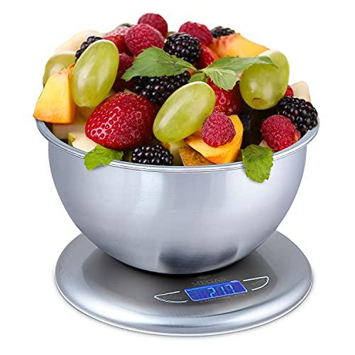 MEGAS Bilancia Cucina Professionale Multifunzione, Bilancia Elettronica Da Cucina Digitale Di Precisione Pesa Alimenti Con Ciotola Rimovibile In Acciaio Inox Da 5kg, Unità Di Misura G/lb/oz/kg/ml