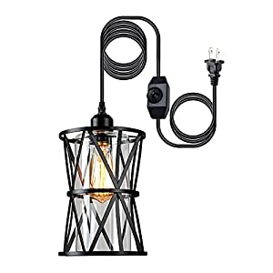 HMVPL Farmhouse Pendant Lighting, Outdoor Swag Lamp with Plug in Cord and On/Off Dimmer Switch, Hanging Light Fixture with Clear Glass Lampshade for Dining Room Bedroom Foyer Hallway Kitchen Island