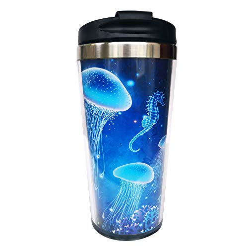 Hasdon-Hill Magic Glowing Jellyfish Underwater Undersea World Travel Mugs With Wrap And Black Lid,...