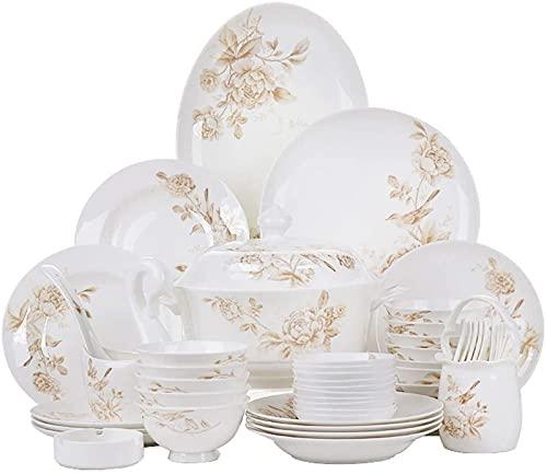 Juego de Platos, Conjunto de vajillas de cerámica con 50 Piezas, tazón/Plato/Maceta/Cuchara | Conjunto de Cena de Hueso de China, Conjunto de combinación de Porcelana de Primavera de jardín Comp