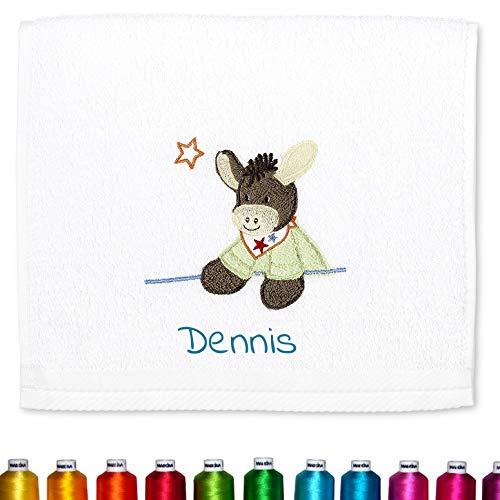 Sterntaler Kinder/Baby Handtuch bestickt mit Namen für Junge & Mädchen, Kinderhandtuch personalisiert (Emmi Weiß Esel)