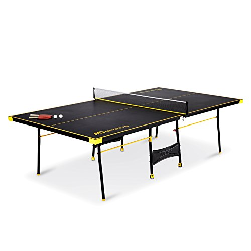 MD Sports NEW Official Size Table Tennis Table, with Paddle and Balls (Black/Yellow)