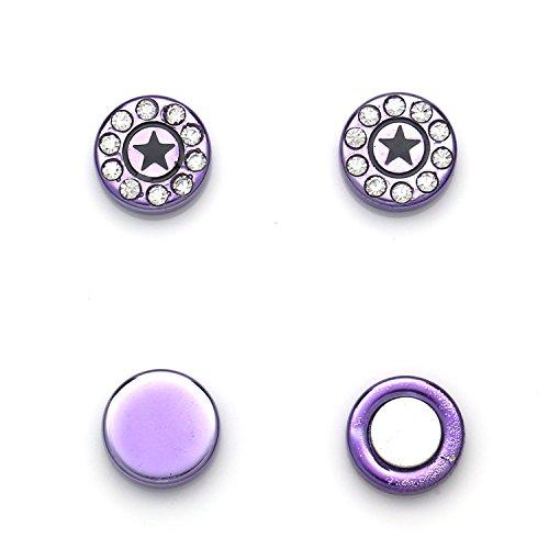 Idin sieraden rond paars Crystal Star oorbellen Omegaclip zonder gaatjes magnetisch
