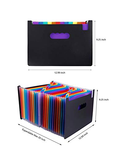 24 Pockets Expanding File Folder Multicolored A4 Size Expandable File Organizer Accordion Stand File Folder Wallet Briefcase Receipt Organizer No Cover (Multicolored,24 Pockets) Photo #3