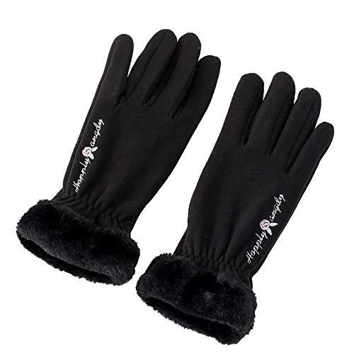 Guantes Moto Invierno Mujer Hombre, Guantes De Esquí Más Cinco Dedos Engrosados de Terciopelo para Mantenerse Calientes En Invierno Al Aire Libre: Boca Peluda