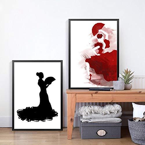 Póster artístico impreso bailarina de flamenco española cuadro de pared pintura abstracta arte moderno decoración del hogar (42x60 cm) sin marco