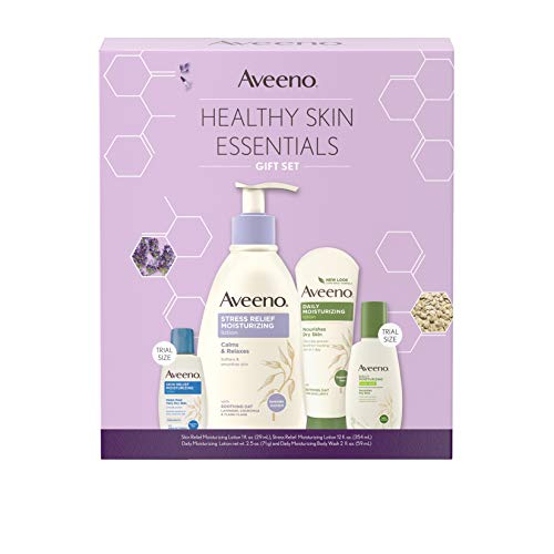 Aveeno Body Lotion Healthy Skin Essentials Gift Set, Skincare Set with Daily Moisturizing Body Lotion & Nourishing Body Wash, Stress Relief Lotion, Skin Relief Lotion, 4 items