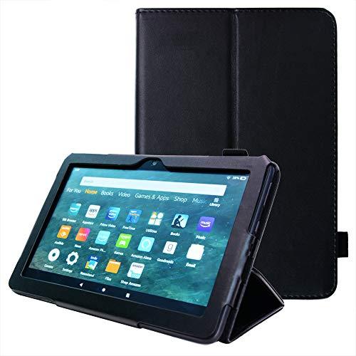 TECHGEAR Neue Fire HD 8 / HD 8 Plus Hülle - PU Leder Slim Hülle mit Ständer & Handschlaufe [Auto Schlaf/Wach] Schutzhülle Tasche für Amazon Fire HD8, HD 8 Plus (10. Generation / 2020) - Schwarz