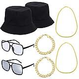 80er 90er Hip Hop Kostüm Kit Coole Rapper Outfits, Eimer Hut Sonnenbrille Vergoldete Kette für Musical Party