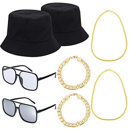 80er 90er Hip Hop Kostüm Kit Coole Rapper Outfits, Eimer Hut Sonnenbrille Vergoldete Kette für Musical Party