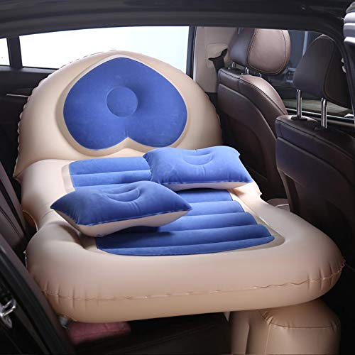 Car Back Seat Air Mattress with Air Pump, 2 Pillows, Portable Camper Inflatable Sleeping Bed, Flocking Surface, Waterproof, Leak-Proof,Blue