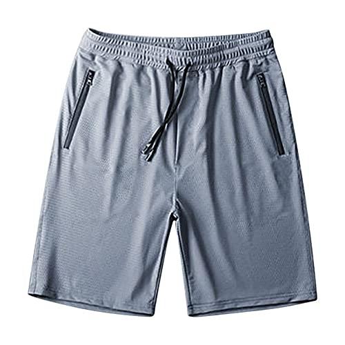 N\P Verano de los Hombres Casual Sueltos de Secado Rápido Pantalones Cortos de Seda Hielo Pantalones de Cinco Punto, gris, 3XL