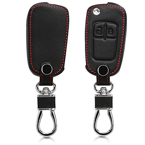 kwmobile Autoschlüssel Hülle kompatibel mit Opel Chevrolet 2-Tasten Klapp Autoschlüssel - Kunstleder Schutzhülle Schlüsselhülle Cover - Schwarz
