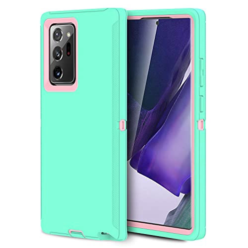 MXX Galaxy Note 20 Heavy Duty Protective Case with [3 Layers] Rugged Rubber Shockproof Protection Cover for Galaxy Note 20 (Aqua/Light Pink)