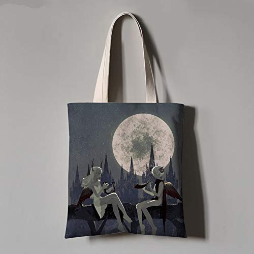 XD Panda Tote Bag,  Beautiful Lovely In The Moon Scenery Student Canvas Bag Portable Green Shopping Bag Unisex Daily Commuter Bag Hand Large Capacity Shopping Bag Folding Wash,  Middle (35X40Cm)