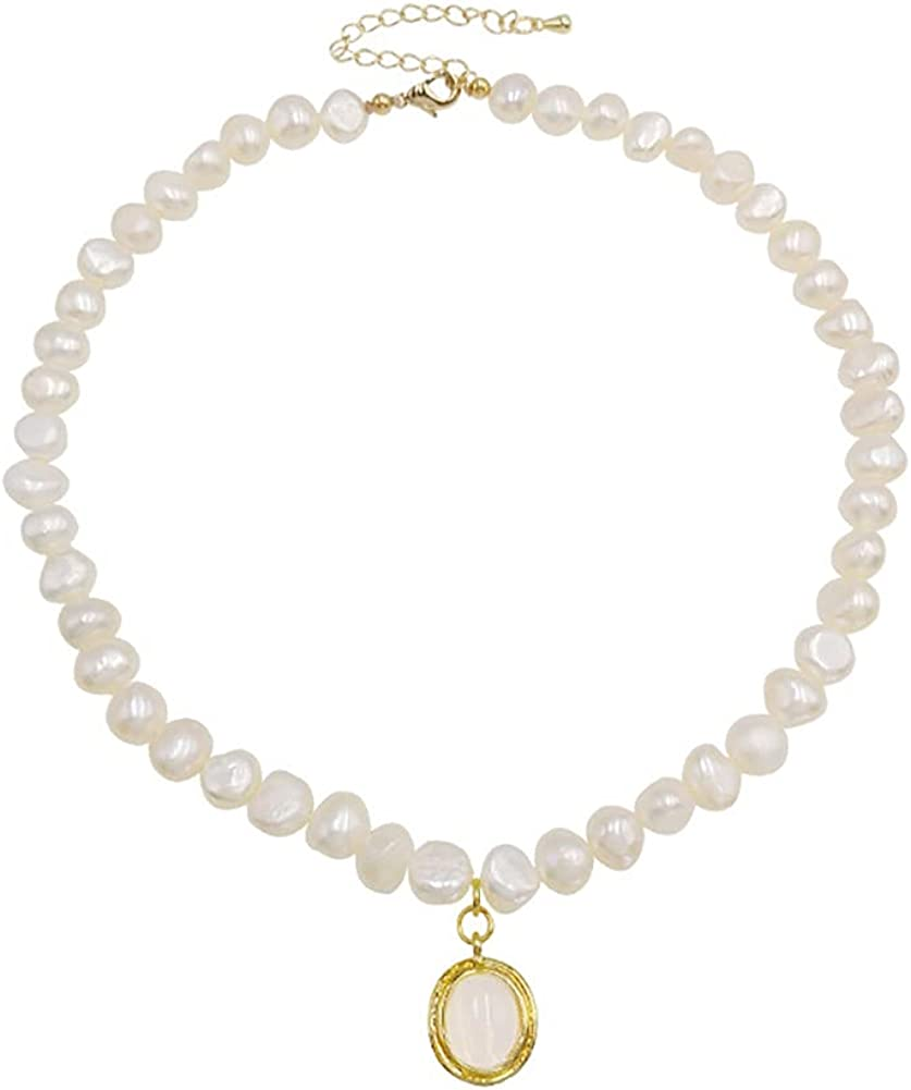 Pearl Choker Necklace Opal Moonstone Irregular Baroque Pearl Cute Retro French Dainty Elegant Pendant Necklace for Women Girls