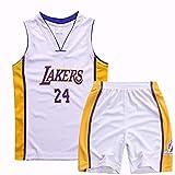 Dll Jersey NBA Lakers de Rying Boy Girl # 24 Kobe Bryant Jerseys del Baloncesto de Malla Transpirable Baloncesto Camiseta Set (Color : White, Size : 4XL for Adult)